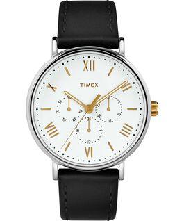 Montre chronomètre Southview 41mm Bracelet en cuir Chrome/Noir/Blanc/Doré large