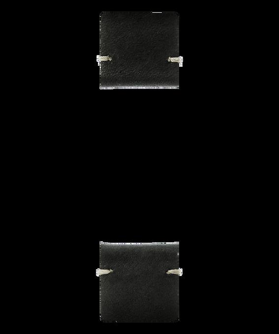 Bracelet en deux parties en cuir noir  large