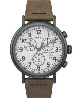 Standard Chronograph 41mm Leather Strap Watch Gunmetal/Brown/White large