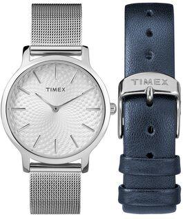 Coffret cadeau montre Metropolitan 34mm avec bracelet à milanaise et bracelet supplémentaire Argenté large