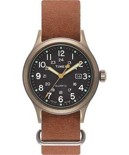 Montre Allied 40mm avec bracelet en cuir délavé à la pierre Bronze/Marron/Noir large