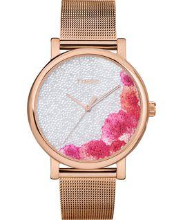 Montre Full Bloom 38mm avec cristaux Swarovski Bracelet à mailles Or rose/Blanc large