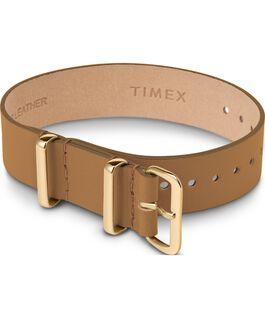 Bracelet en cuir une pièce couche simple or 16mm Brun large