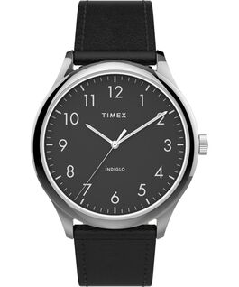 Modern Easy Reader 40mm Leather Strap Watch Silver-Tone/Black large