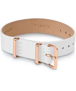 Bracelet une pièce en tissu une couche 16mm boucle rose doré Blanc large