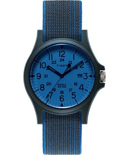 Montre Acadia à bracelet en tissu élastique 40mm Bleu/Blanc large