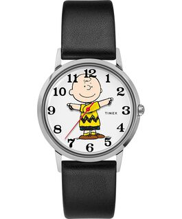 Montre avec bracelet en cuir 34mm TimexxPeanuts exclusivement pour Todd Snyder représentant Charlie Brown Acier inoxydable/Noir/Gris large