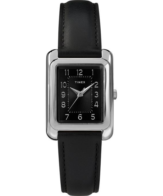 Montre Meriden 25 mm Bracelet en cuir Chrome/Noir large