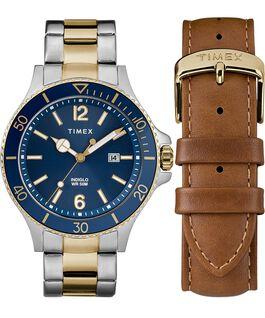 Coffret cadeau montre Harborside 43mm avec bracelet supplémentaire Bicolore/Bleu large