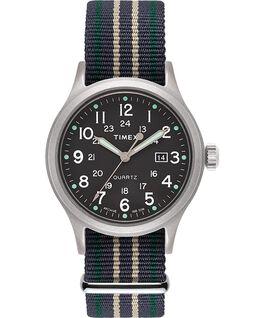 Montre Allied 40mm avec bracelet en tissu et marqueurs en points Argenté/Vert large