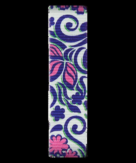 Bracelet une pièce en nylon bleu avec motifs roses  large