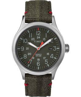 Montre Allied 40mm Bracelet en tissu Silver-Tone/Green large