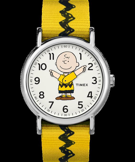 Charlie Brown 38mm Nylon Strap Watch  Silver-Tone/Yellow/White large
