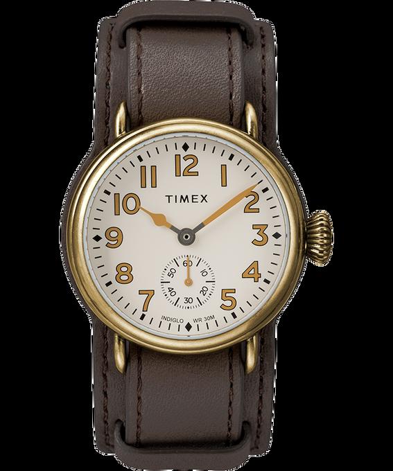 Montre Welton 38mm Bracelet en cuir Bronze/Marron/Crème large