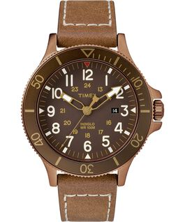 Montre Allied Coastline 43 mm Bracelet en cuir Bronze-Tone/Brown large