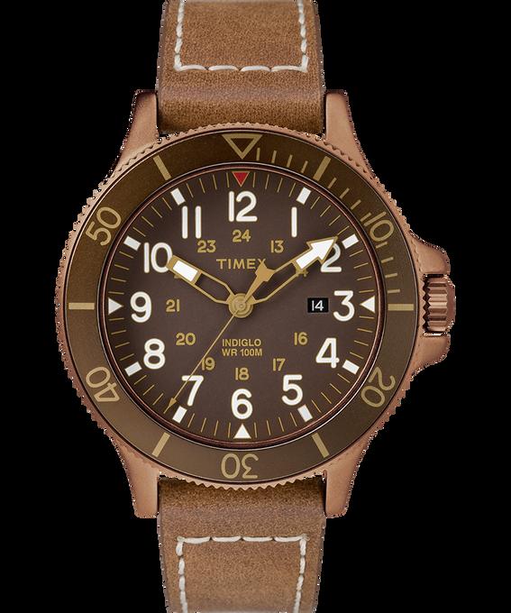 Montre Allied Coastline 43mm Bracelet en cuir Bronze-Tone/Brown large