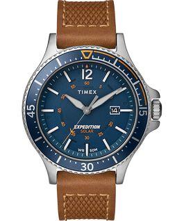 Montre Expedition Ranger Solar 43mm Bracelet en cuir Argenté/Brun clair/Bleu large