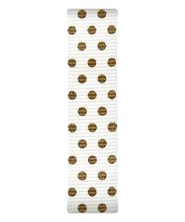 Bracelet une pièce en nylon crème/points dorés  large
