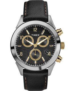Montre chronomètre Torrington 40mm pour homme Bracelet en cuir Acier inoxydable/Noir/Doré large