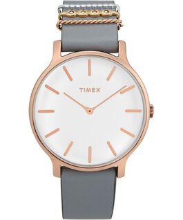 Montre Transcend 38mm avec bracelet accessoire en cuir Rose doré/Gris/Blanc large