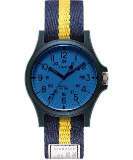 Montre Acadia 40mm Bracelet en tissu Bleu/Blanc/Bleu large