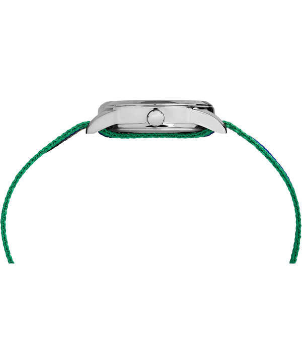 Montre Kids Analog 30 mm Bracelet en nylon Silver-Tone/Green/White large