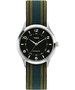 Montre Whitney Village 38mm bracelet en gros-grain et cadran noir Acier inoxydable/Noir large