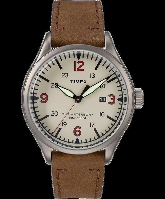 Waterbury Traditional 40mm Leather Watch Gunmetal/Brown/Cream large