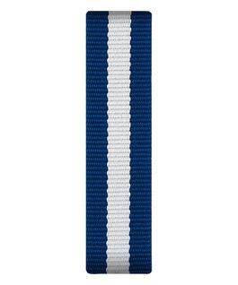 Bracelet une pièce en nylon bleu et blanc  large