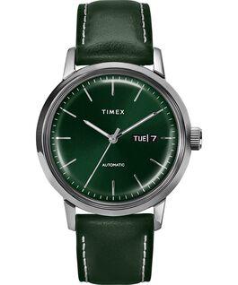 Montre automatique Marlin 40mm Affichage de la date Bracelet en cuir Acier inoxydable/Vert large