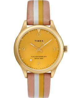 Montre femme Waterbury Traditional 34mm bracelet en cuir rayé Doré/Brun clair/Jaune large