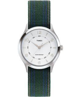 Montre Whitney Village 36mm Bracelet en gros-grain réversible Acier inoxydable/Blanc large