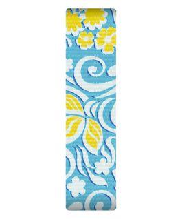 Bracelet une pièce en nylon bleu avec motifs jaunes  large