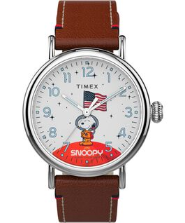 Timex x Space Snoopy Standard 40mm Leather Strap Watch Silver-Tone/Brown/White large