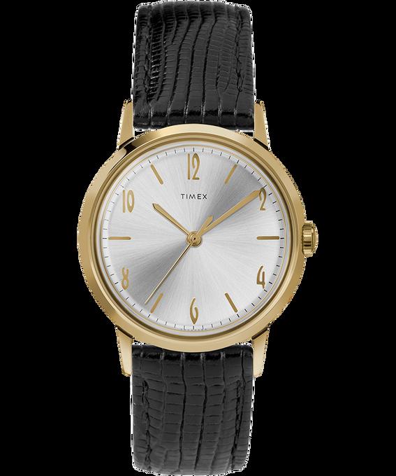 Montre Marlin 34mm Mécanique à remontage manuel avec bracelet en cuir Black/Gold-Tone large
