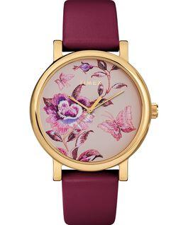 Montre Full Bloom 38mm Bracelet en cuir Doré/Bordeaux/Rose large