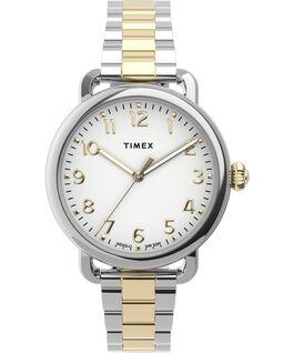 Montre Standard 34mm Bracelet en acier inoxydable Argenté/Bicolore large