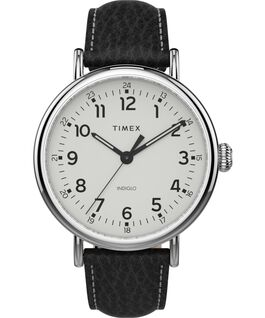 Timex Standard XL 43mm Leather Strap Watch Silver-Tone/Black/White large