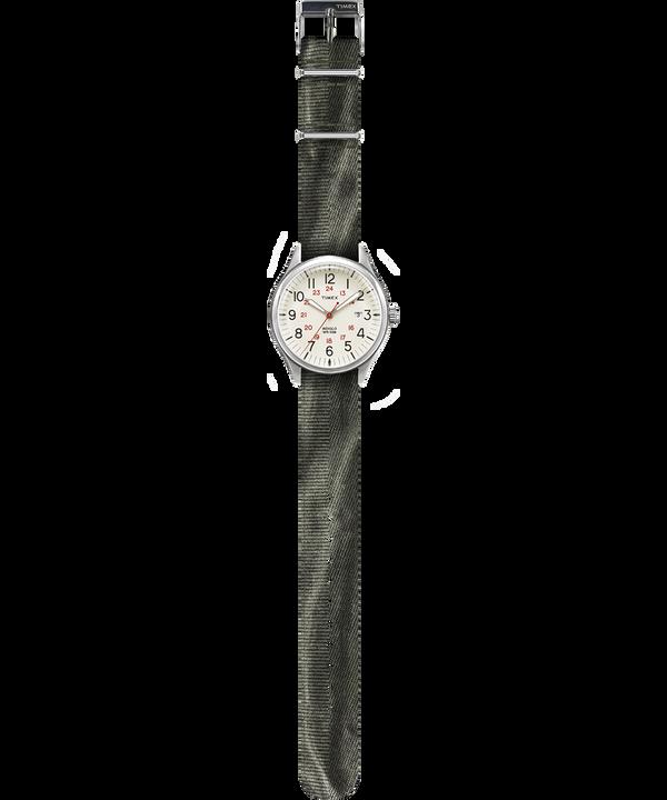 Montre Waterbury United 38mm Bracelet en tissu délavé à la pierre Argenté/Vert/Naturel large