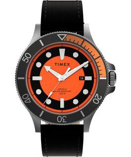 Montre Allied Coastline 43mm Bracelet en tissu Argenté/Noir/Orange large