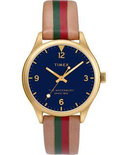 Montre femme Waterbury Traditional 34mm bracelet en cuir rayé Doré/Brun/Bleu large