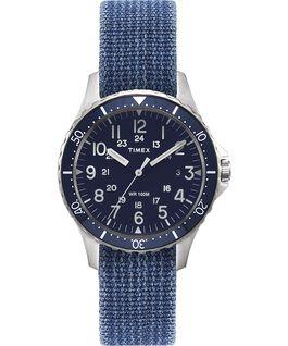 Montre Navi Ocean 38mm Bracelet en tissu réversible délavé à la pierre Acier inoxydable/Bleu/Noir large
