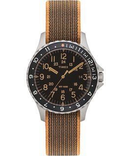 Montre Navi Ocean 38mm Bracelet en tissu élastique Acier inoxydable/Noir large