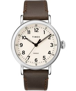 Montre Standard en cuir 40 mm Silver-Tone/Brown/Cream large