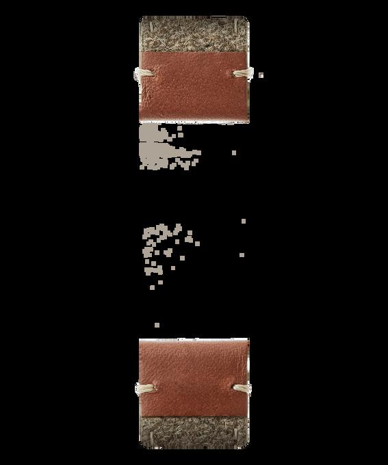 Bracelet en deux parties en cuir marron et feutre brun clair  large
