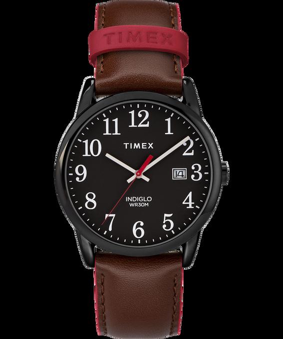 Montre Easy Reader Color Pop 38mm Bracelet en cuir pour homme Noir/Marron large