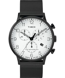Montre chronomètre Waterbury Classic 40mm bracelet à milanaise Noir/Blanc large