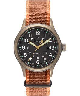 Montre Allied 40mm avec bracelet en tissu et marqueurs en points Bronze/Noir large