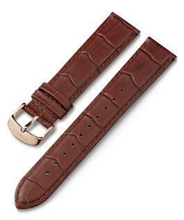 Bracelet en cuir 20mm motif crocodile à dégagement rapide Marron large