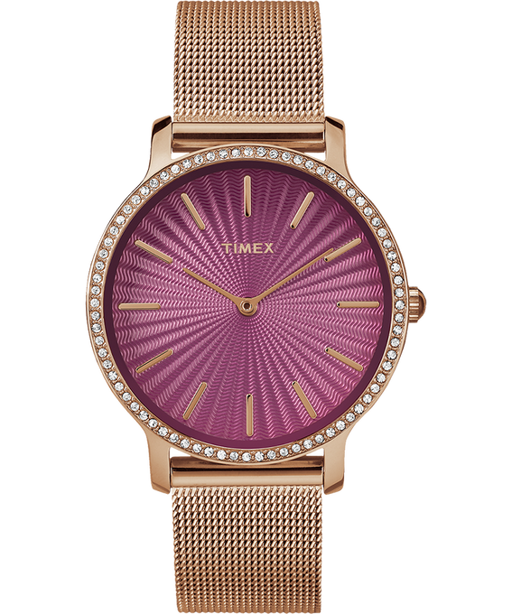 Metropolitan with Swarovski 34mm Stainless Steel Mesh Watch Rose-Gold-Tone/Red large